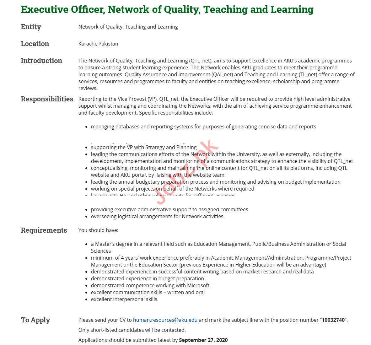 Executive Officer Jobs 2020 in Aga Khan University AKU