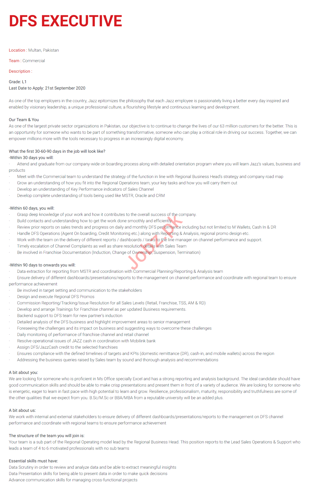 DFS Executive Jobs 2020 in Jazz Telecom Multan