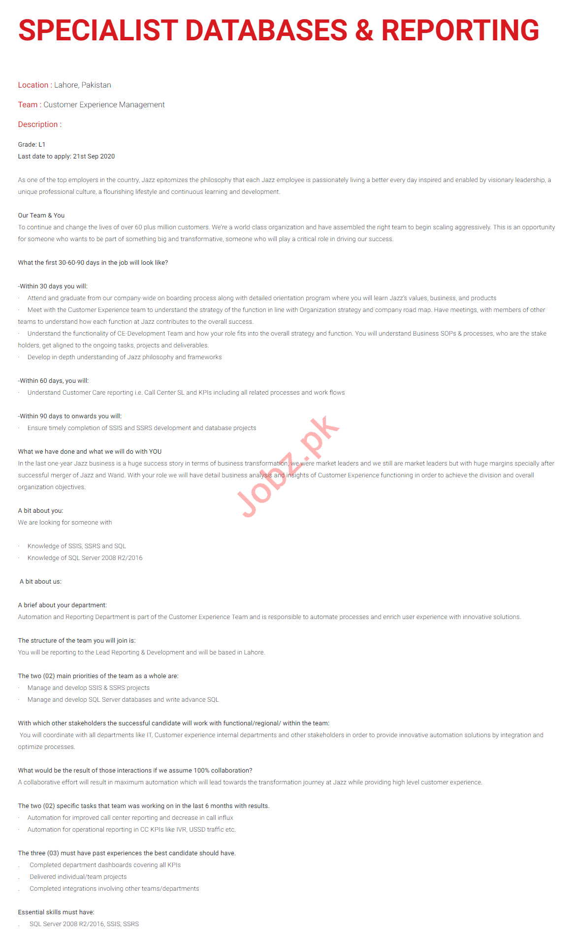 Specialist Database & Reporting Jobs for Jazz Telecom Lahore