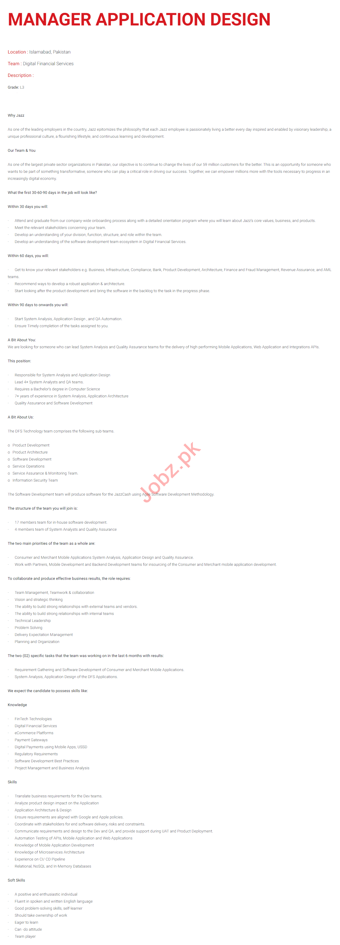 Manager Application Design Jobs 2020 in Islamabad