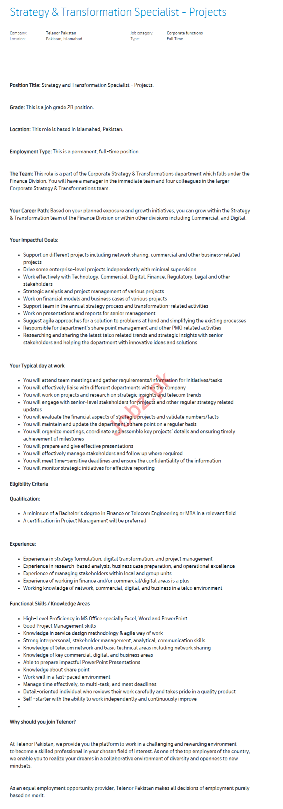 Strategy & Transformation Specialist Jobs 2020 in Islamabad