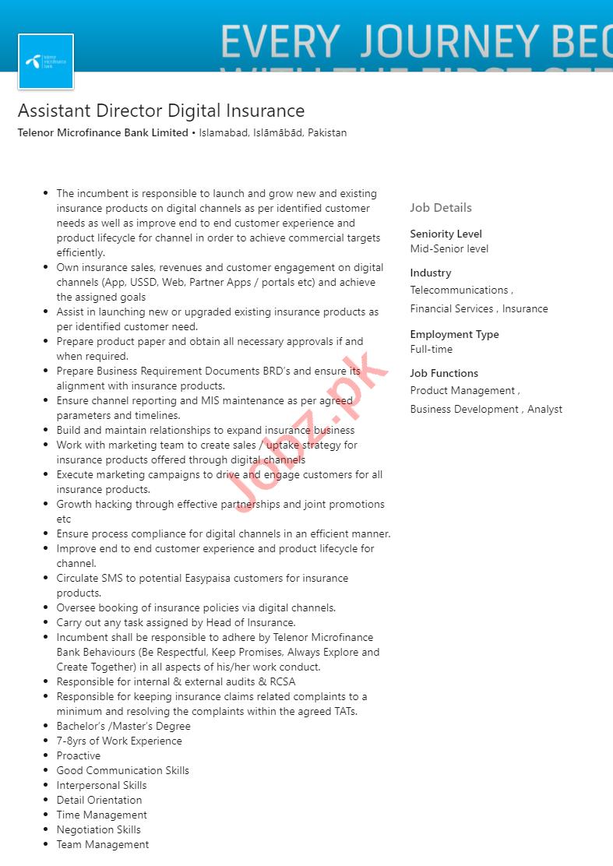 Telenor Microfinance Bank Islamabad Jobs 2020 for Director