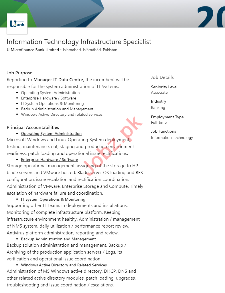 U Bank Islamabad Jobs 2020 for IT Infrastructure Specialist