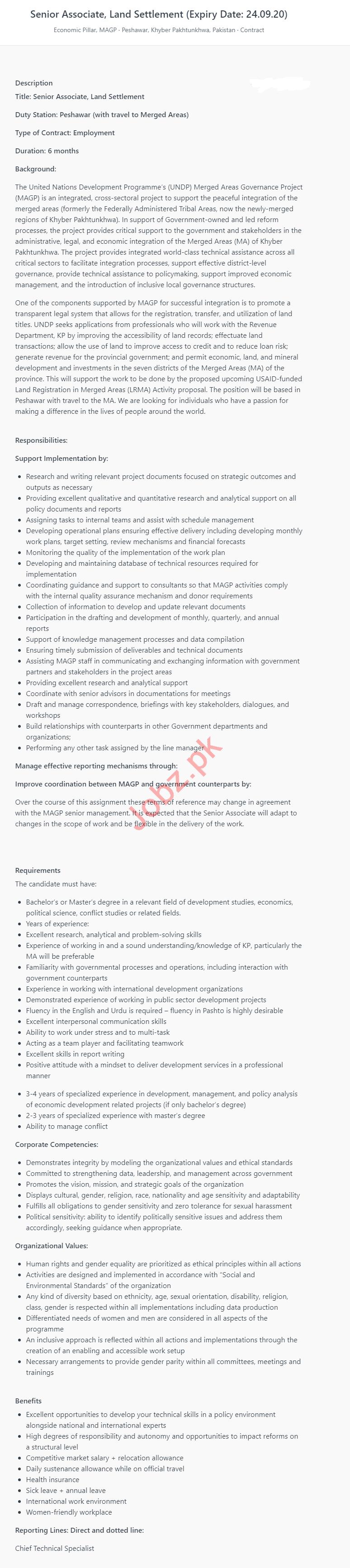 UNDP Jobs 2020 Senior Associate Land Settlement