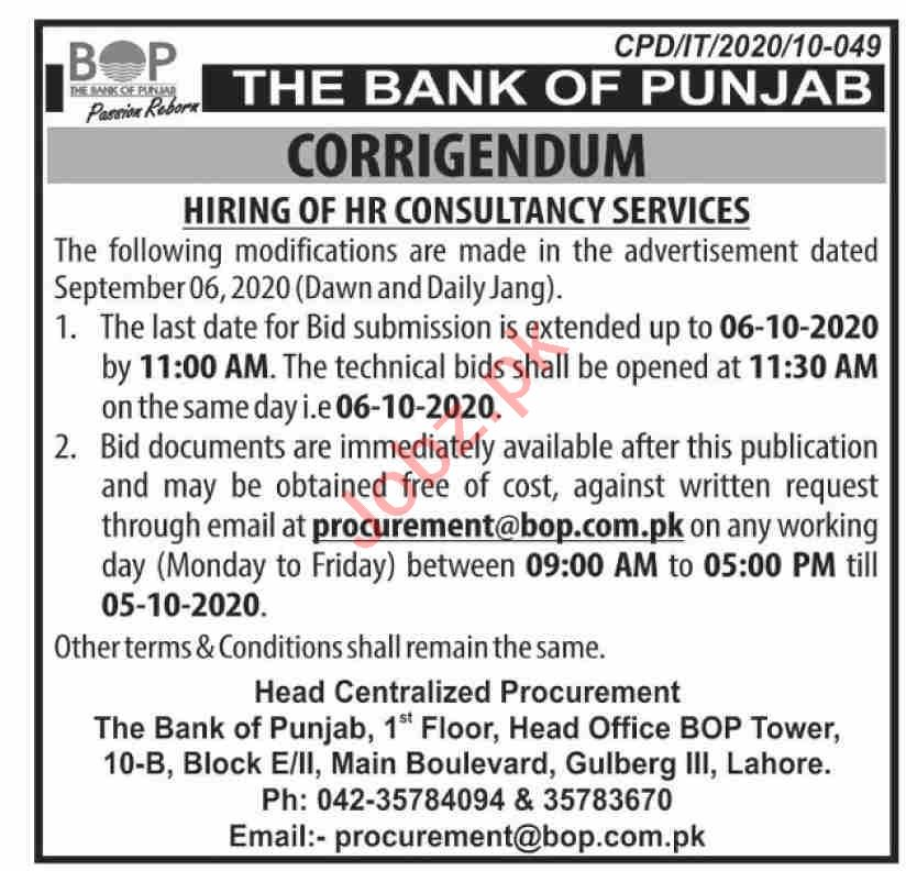 The Bank of Punjab BOP Jobs 2020 for HR Consultant