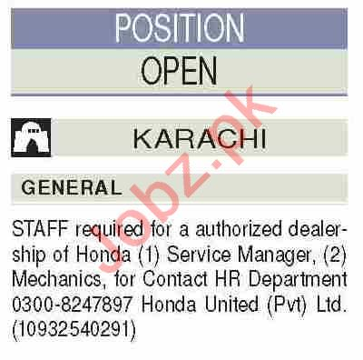 Honda United Jobs 2020 for Mechanic & Service Manager
