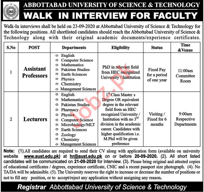 Abbottabad University of Science & Technology AUST Jobs 2020
