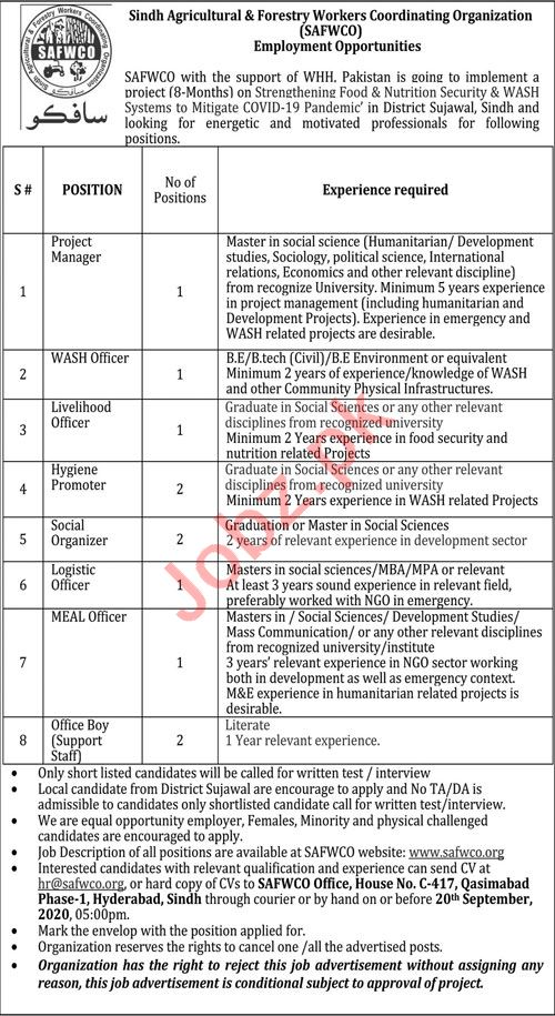 SAFWCO Sindh Agricultural Forestry Workers Jobs 2020