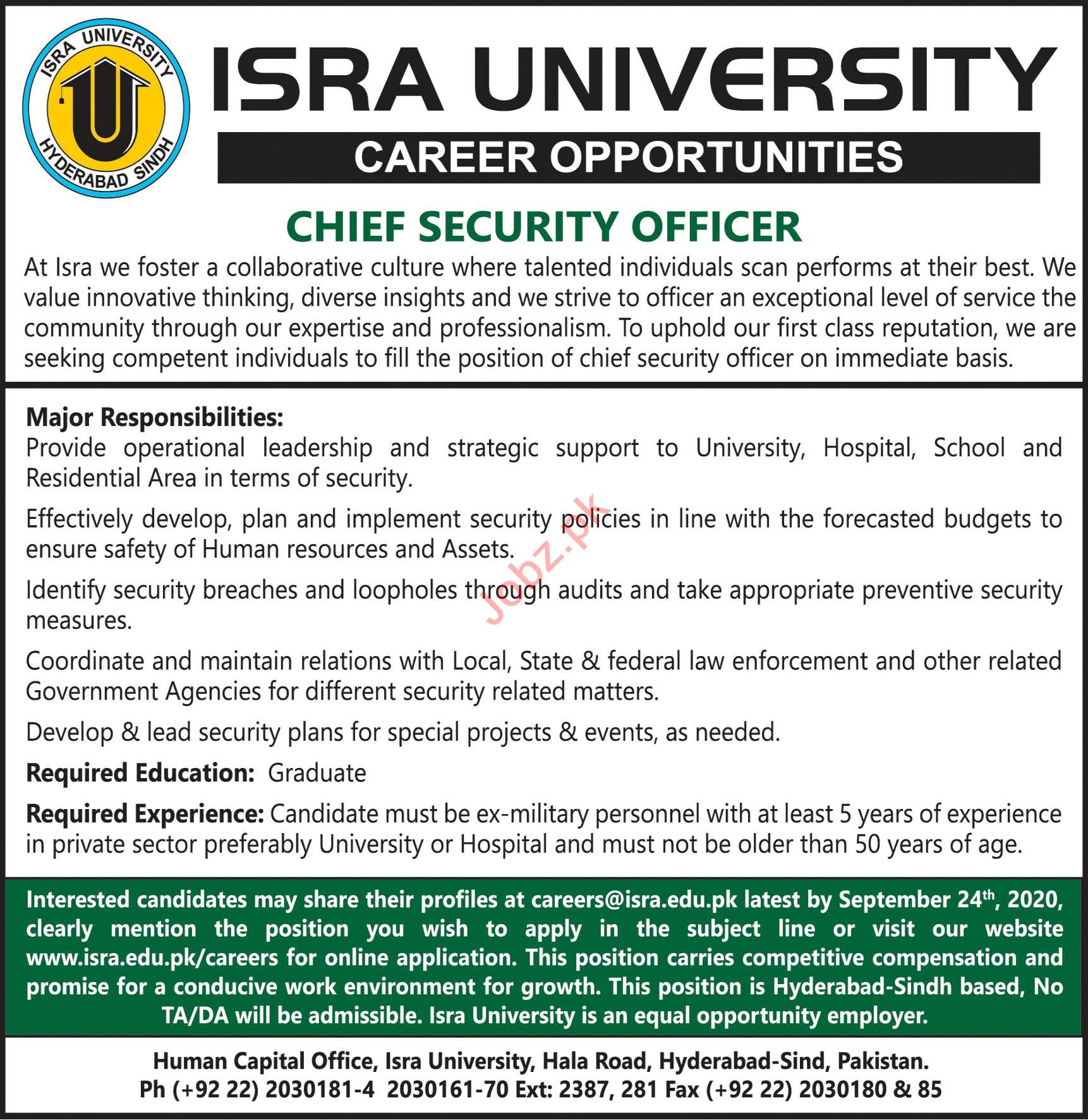 Isra University Hyderabad Campus Jobs 2020 Security Officer