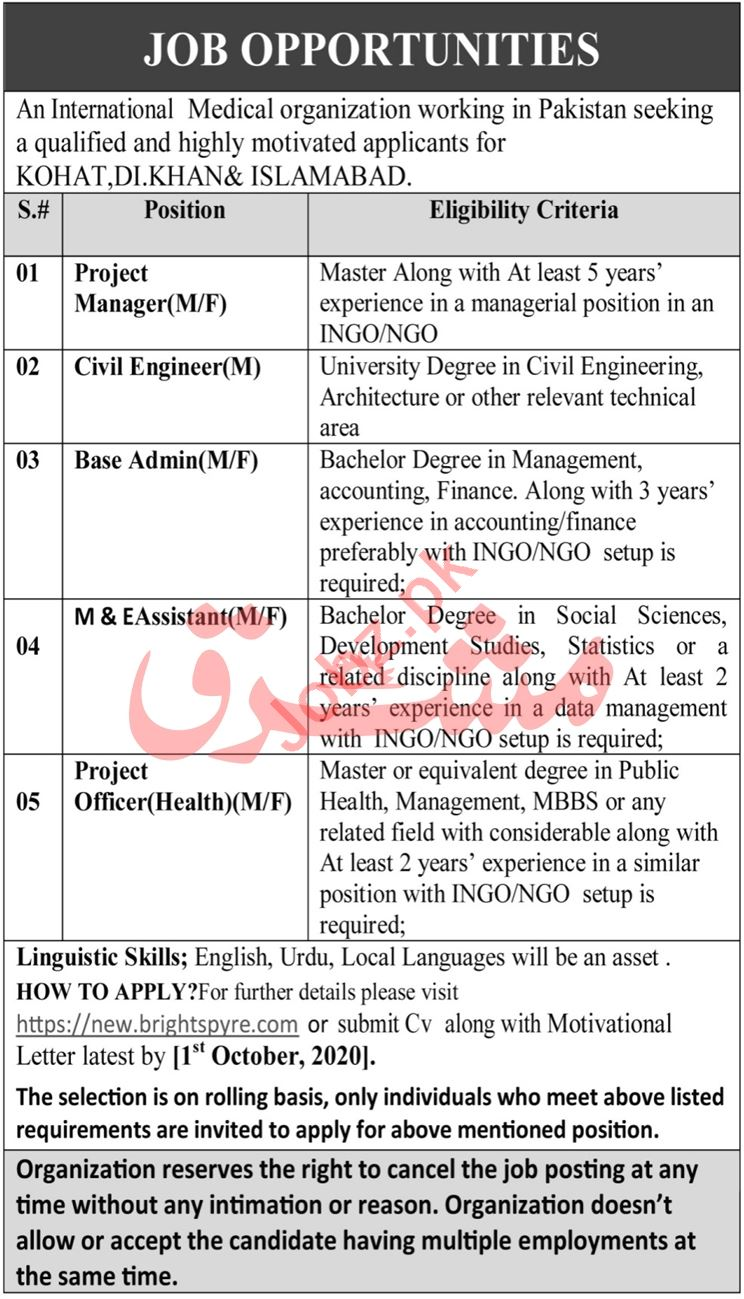 Project Officer Health & Project Manager Job 2020