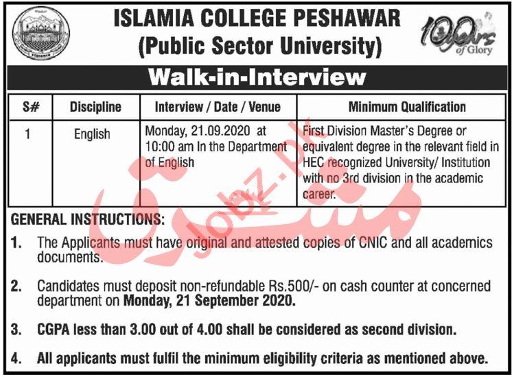 Islamia College Peshawar ICP Jobs Interview 2020