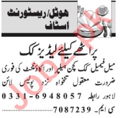 Hotel & Restaurant Staff Jobs 2020 in Lahore