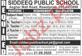 Siddeeq Public School Rawalpindi Jobs 2020 for Teachers