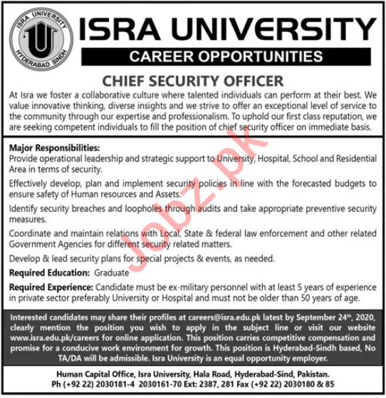 Chief Security Officer Jobs 2020 Isra University Hyderabad