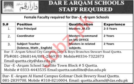 Dar e Arqam School DAS Quetta Jobs 2020 Subject Teachers
