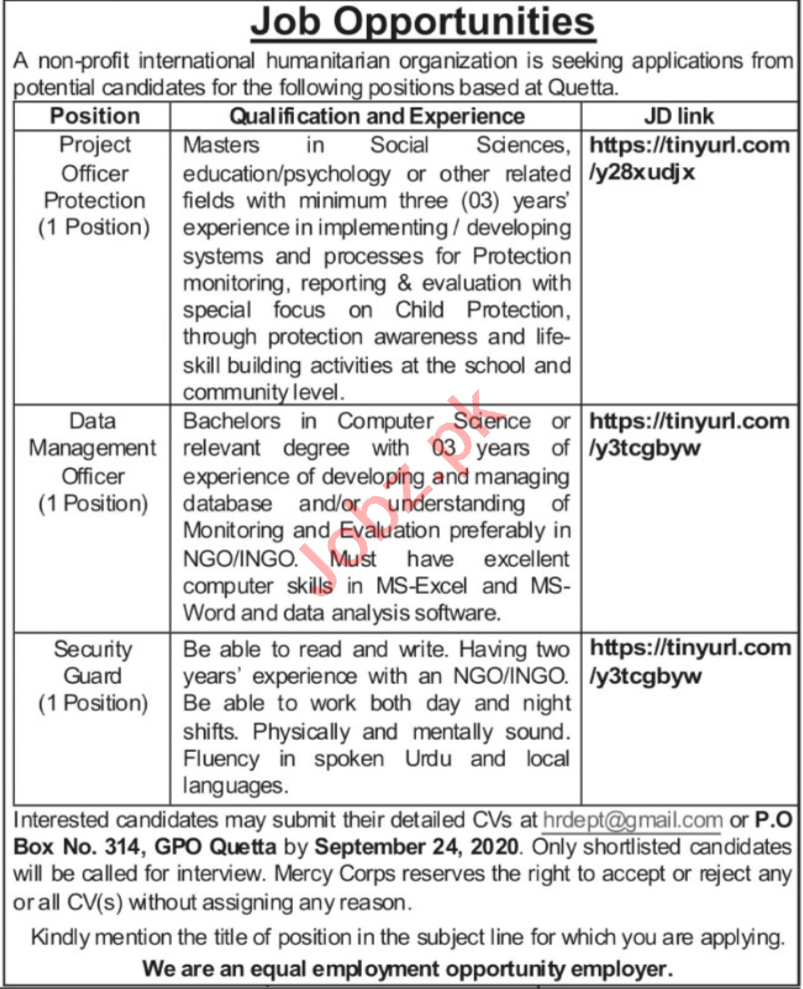 Project Officer Protection & Data Management Officer Jobs