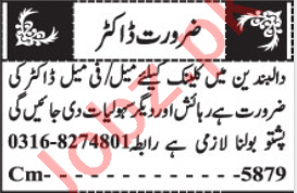 Resident Medical Officer & Lady Doctor Jobs 2020 in Quetta