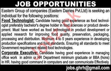 Food Technologist & Corporate Executive Jobs 2020 in Lahore