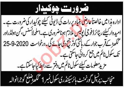 Government Higher Secondary School No 1 Ghakhar Jobs 2020