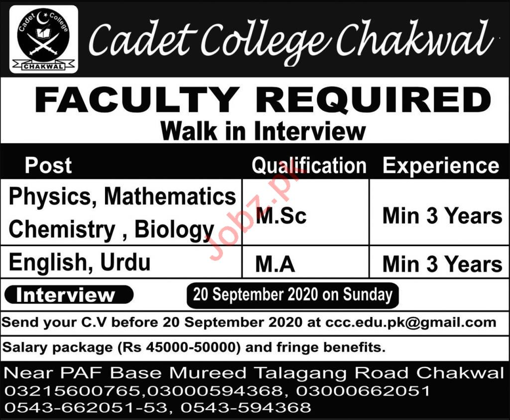 Cadet College Chakwal Jobs 2020 for Lecturers