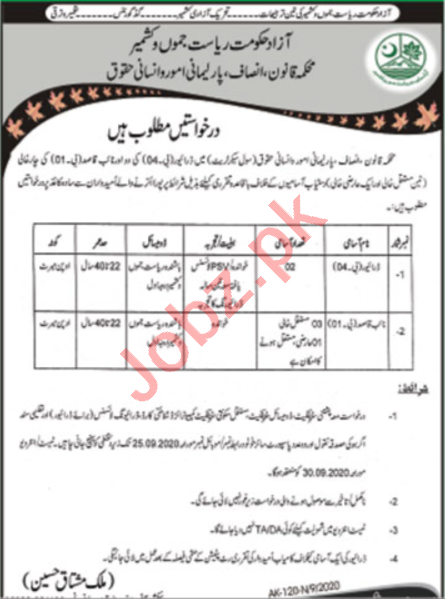 AJK Law Parliamentary Affairs & Human Rights Department Jobs