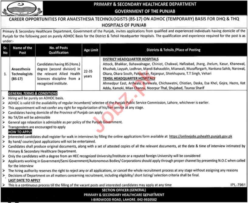 Anaesthesia Technologist Jobs in DHQ & THQ Hospitals Punjab