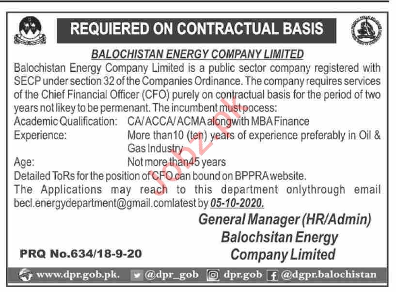 Balochistan Energy Company Limited BECL Jobs 2020 for CFO