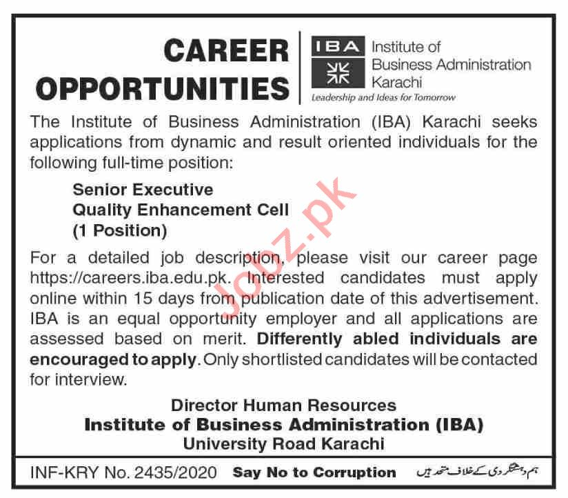 Senior Executive QEC Jobs 2020 in IBA Institute Karachi