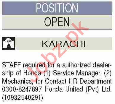 Service Manager & Mechanic Jobs 2020 in Honda United