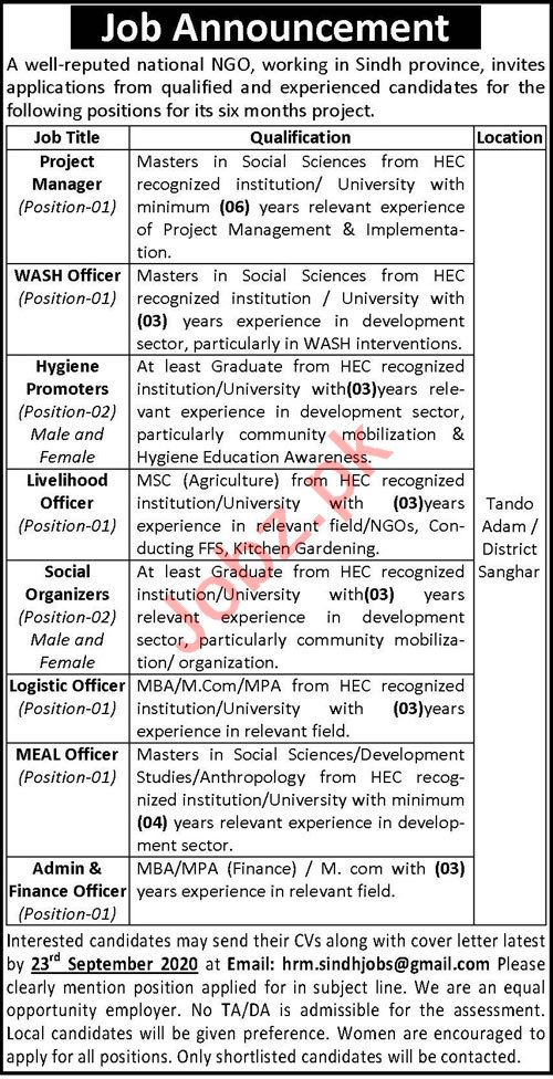 Hygiene Promoters & Social Organizer Jobs 2020 in Sindh