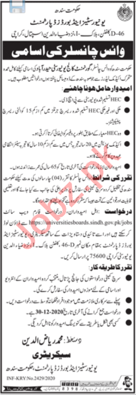 Government College University Hyderabad Jobs Vice Chancellor