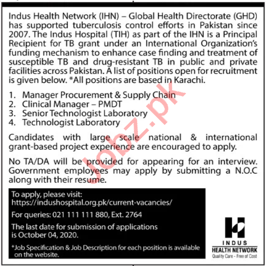 Indus Health Network IHN Jobs 2020 Manager & Technologist