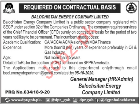 CFO Jobs 2020 in Balochistan Energy Company Limited BECL