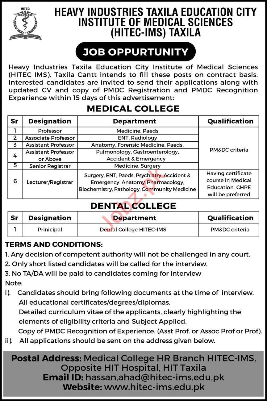 HITEC Institute of Medical Sciences Taxila Jobs 2020