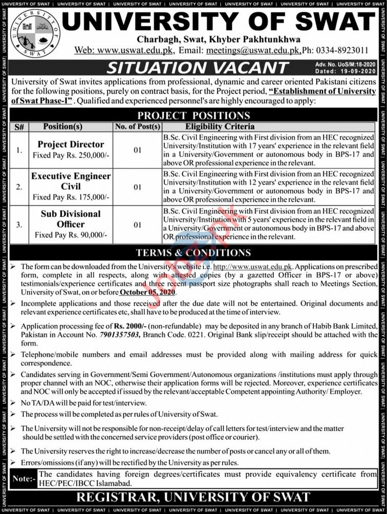 University of Swat Jobs 2020 for Project Director & Engineer