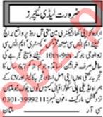 Lady Teacher & Subject Teacher Jobs 2020 in Multan