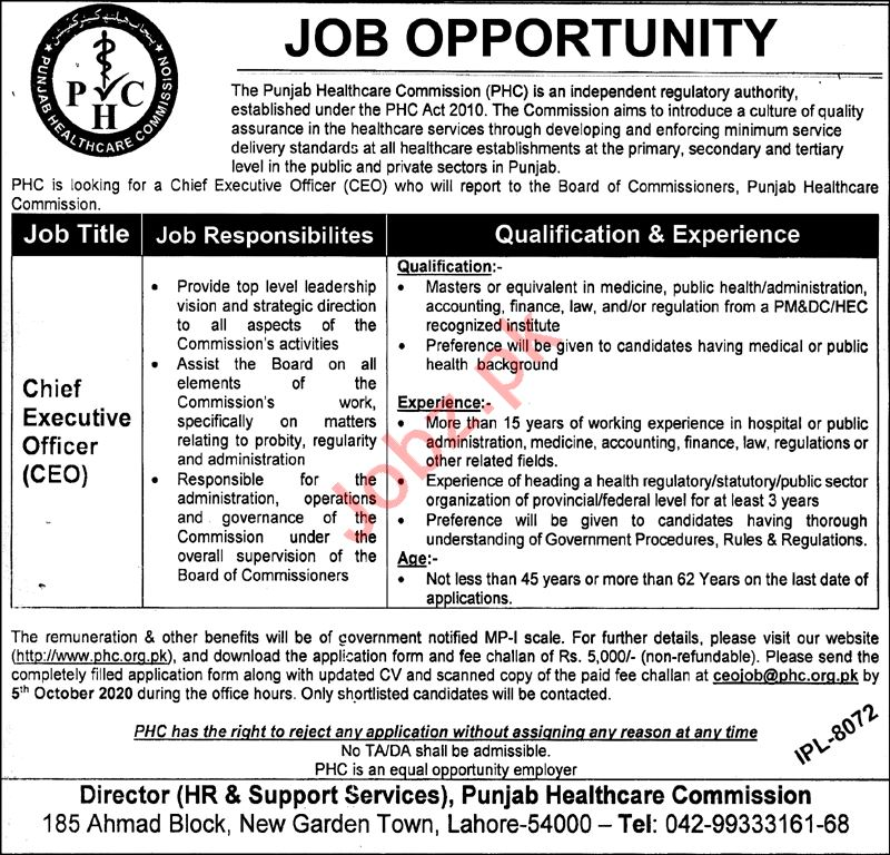 Punjab Healthcare Commission PHC Jobs 2020 for CEO