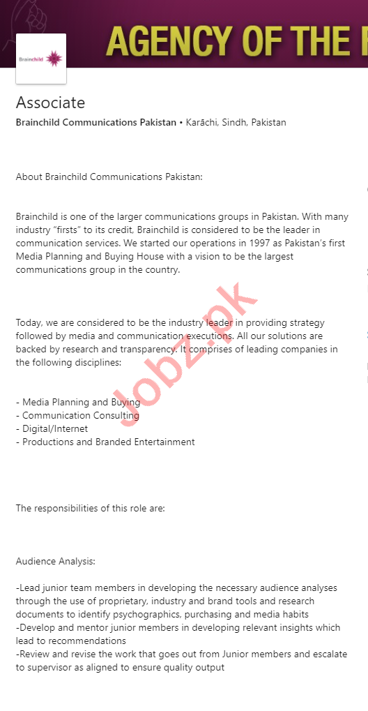 Brainchild Communications Pakistan Jobs 2020 for Associate