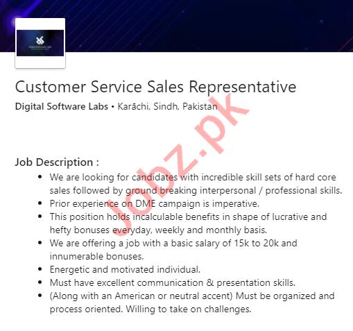 Digital Software Labs Karachi Jobs for Sales Representative