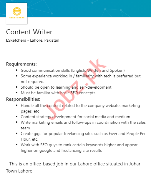 ESketchers Lahore Jobs 2020 for Content Writer