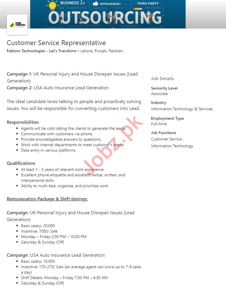 Fathom Technologies Jobs for Customer Service Representative