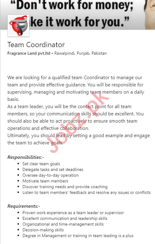 Team Coordinator Jobs 2020 in Fragrance Land Rawalpindi