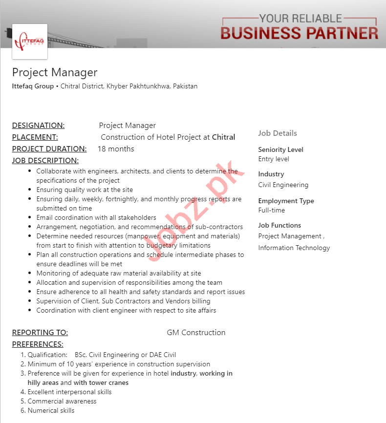 Ittefaq Group Chitral Jobs 2020 for Project Manager