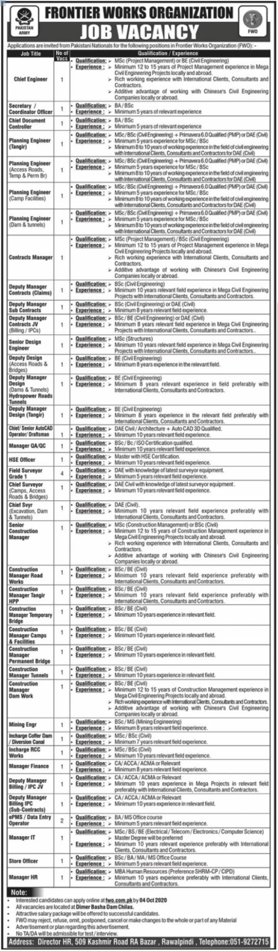 Pakistan Army Frontier Works Organization FWO Jobs 2020