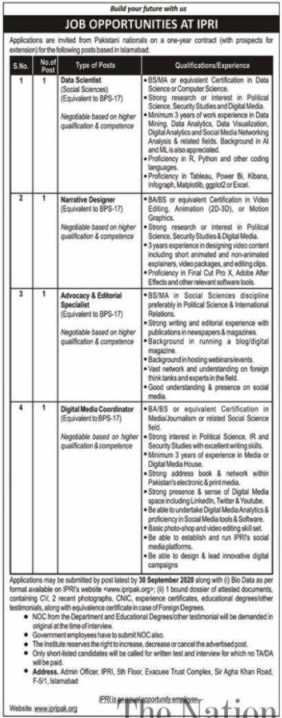 Islamabad Policy Research Institute IPRI Jobs 2020