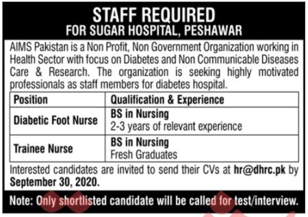 AIMS Pakistan NGO Jobs 2020 in Peshawar KPK