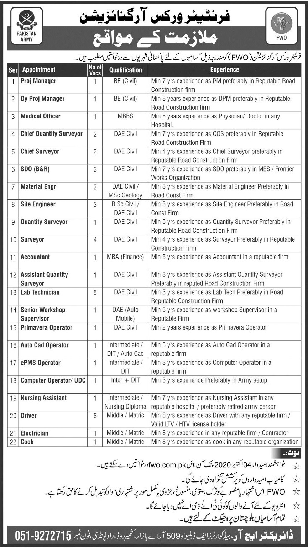 Frontier Works Organization FWO Jobs 2020 in Rawalpindi