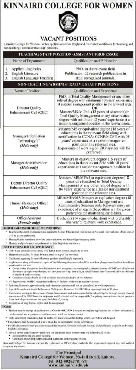 Kinnaird College Lahore Jobs 2020