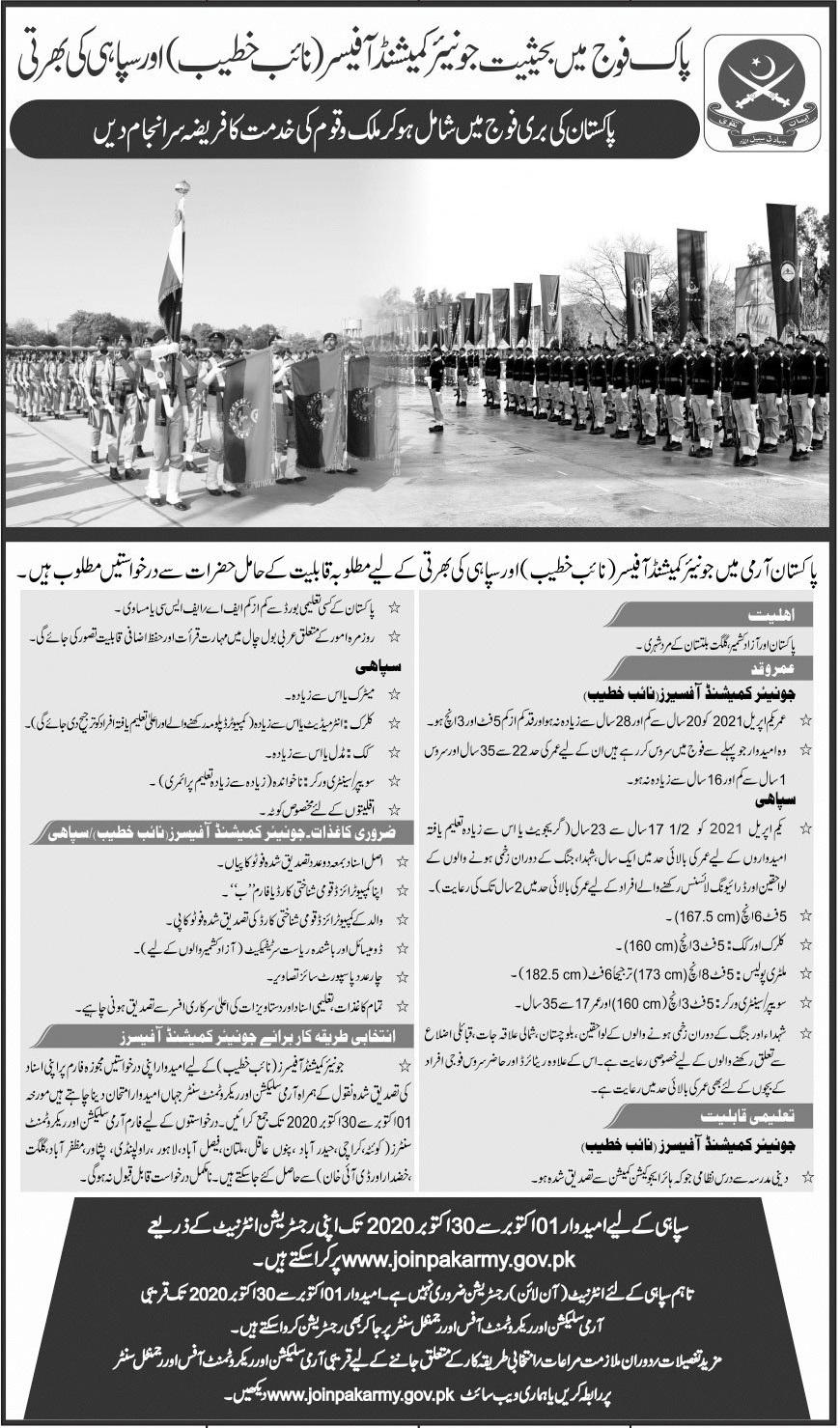 Join Pakistan Army As Naib Khateeb & Constables