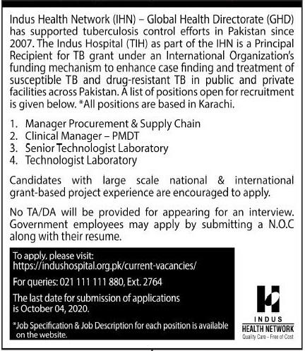 Indus Health Network IHN Global Health Directorate GHD Jobs